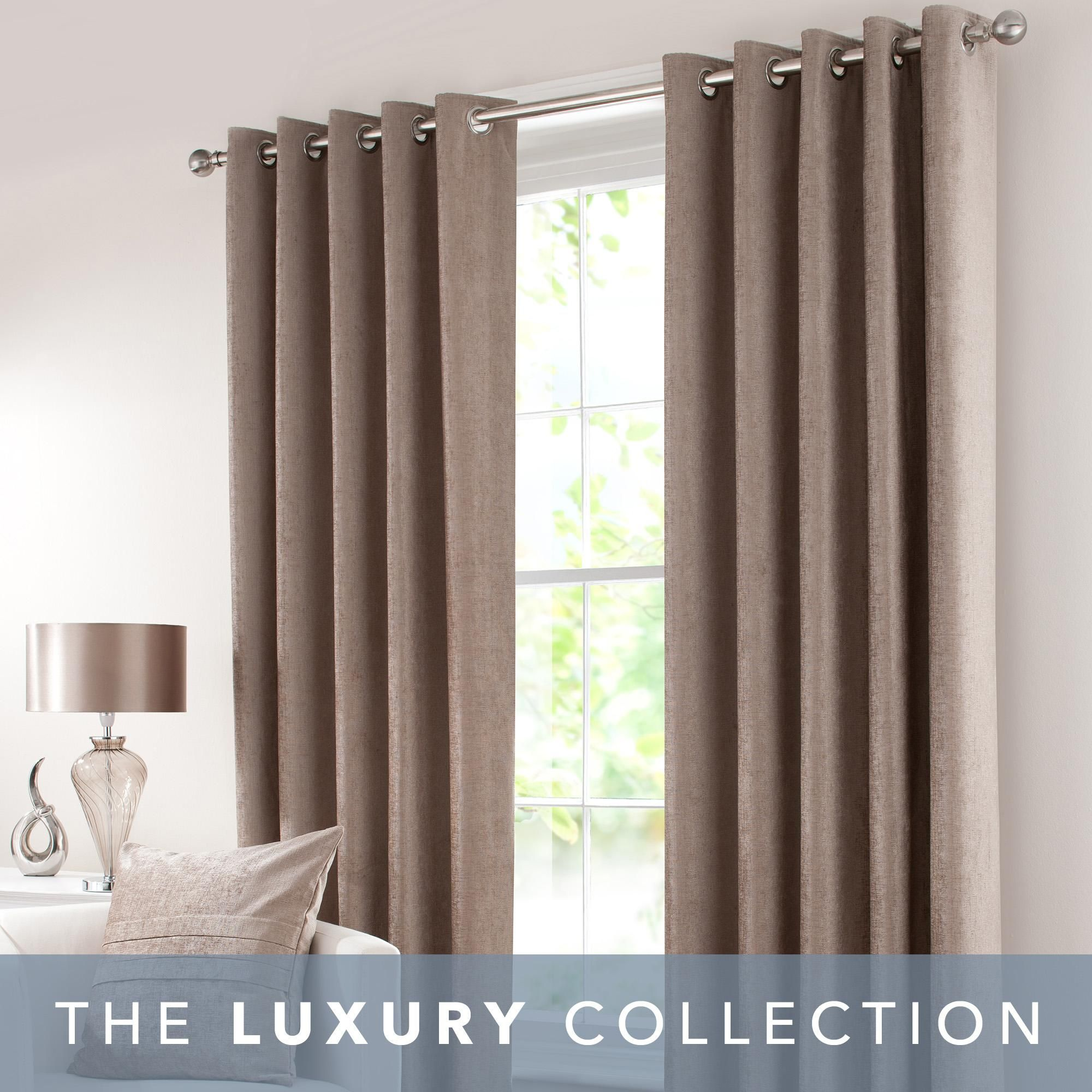 Chenille Taupe Eyelet Curtains In 2020 Taupe Living Room Grey