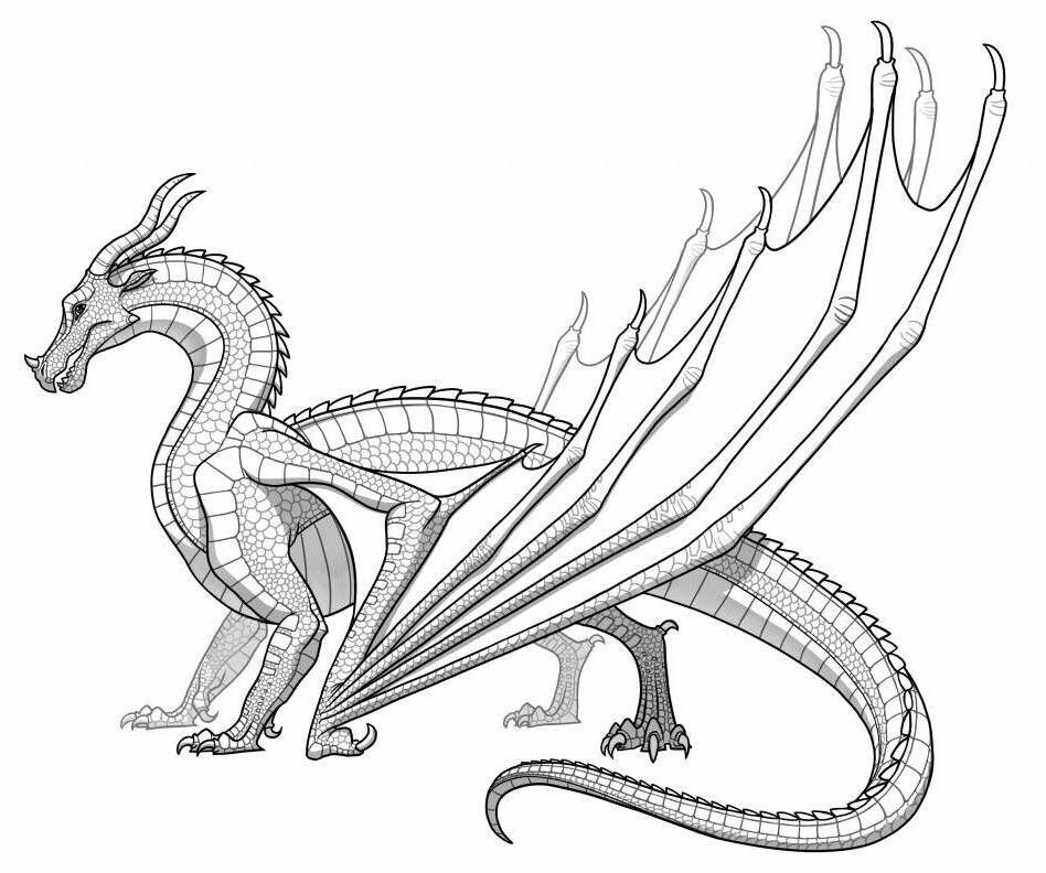 Skywing Monster Coloring Pages Realistic Dragon