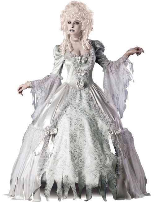 Gothic Barock Gräfin Halloween Damen Kostüm hellgrau