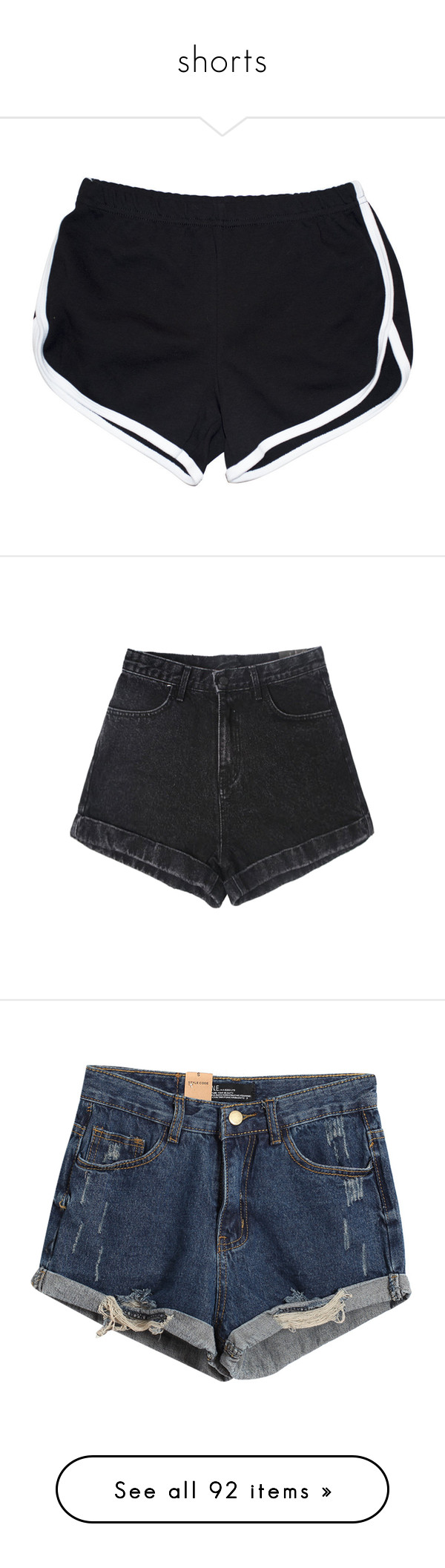 """""""shorts"""" by ouchm4rvel ❤ liked on Polyvore featuring shorts, bottoms, pants, short, white shorts, white short shorts, short shorts, black, denim short shorts and jean shorts"""