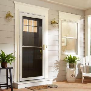 Andersen 36 In X 80 In 2500 Series White Universal Self Storing Aluminum Storm Door Hd2ss36wh The Home Depot Aluminum Storm Doors Glass Storm Doors French Doors Interior