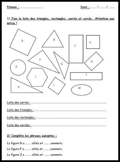 exo formes geometrie | Géométrie ce1, Exercice géométrie ce2, Géométrie ce2