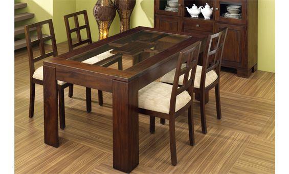 Mesa de comedor en madera de caoba de medidas 160 cm x 90 for Comedores de madera y cristal