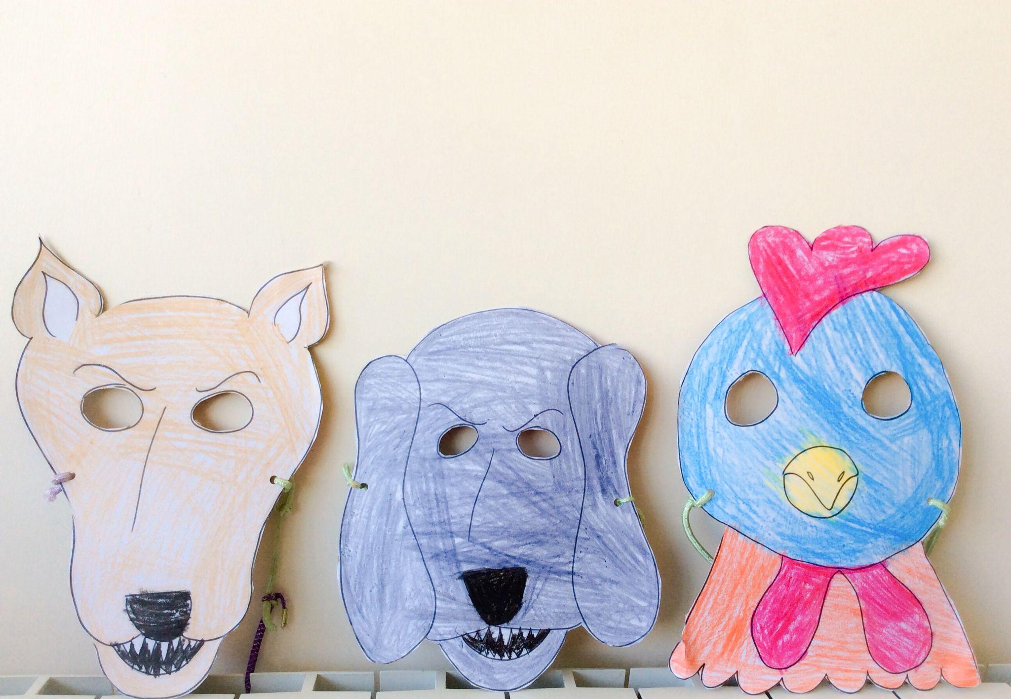 """Masks (اقنعة للّدرس """"الدّيك والثّعلب"""" صف ثاني)"""