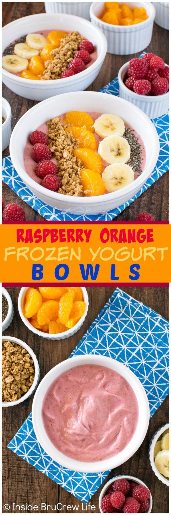 Raspberry Orange Frozen Yogurt Bowls - fresh fruit and granola adds a fun twist to this healthy frozen snack recipe.