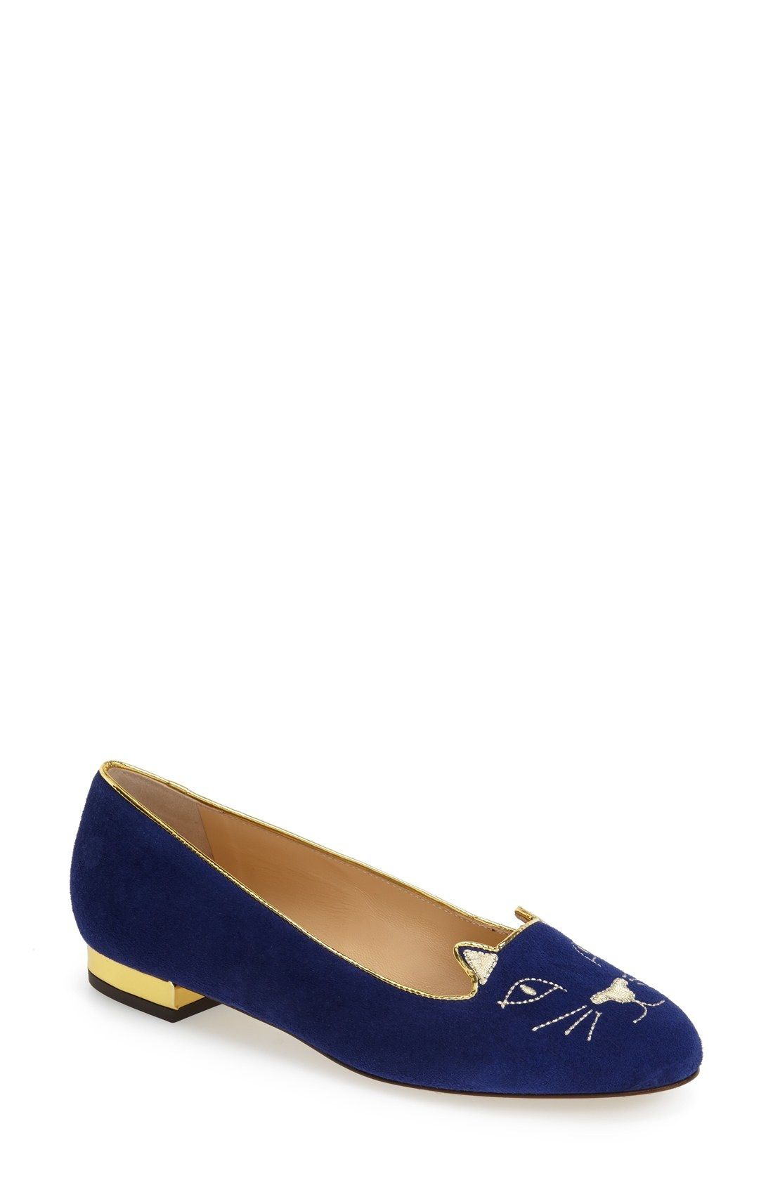 Charlotte Olympia 'Kitty' Suede Flat (Nordstrom Exclusive) available at #Nordstrom