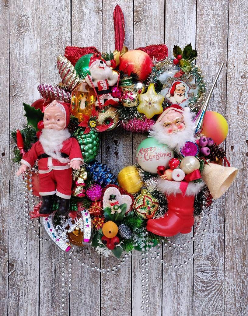 Christmas Wreaths For Front Door Ornament Wreath Vintage Christmas Vintage Christmas Decorations Unique Christmas Ornaments Christmas Wreaths For Front Door