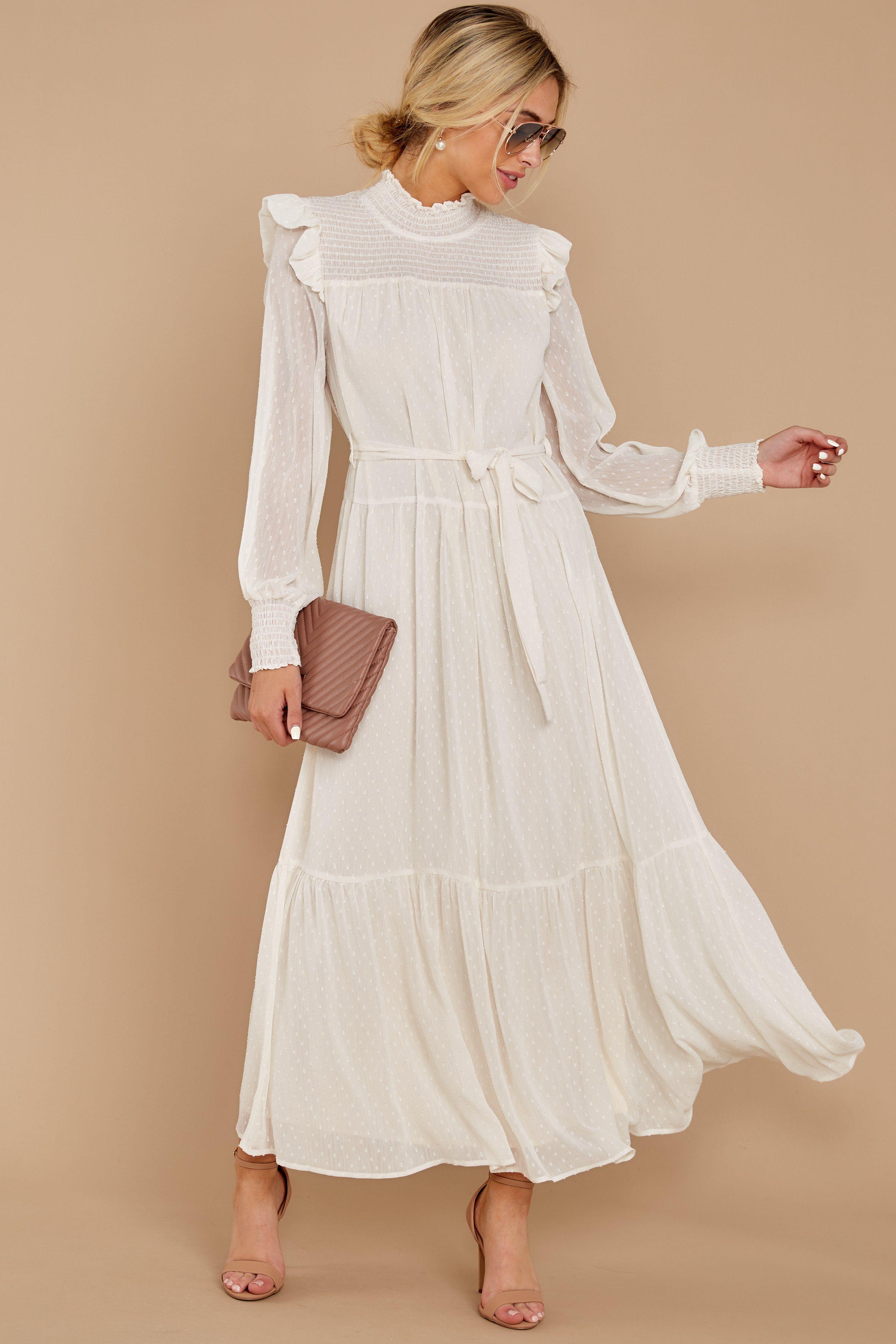 Quite Charming Ivory Midi Dress Hippie Dresses Long Sleeve Collared Dress Ivory Midi Dresses [ 4487 x 2992 Pixel ]