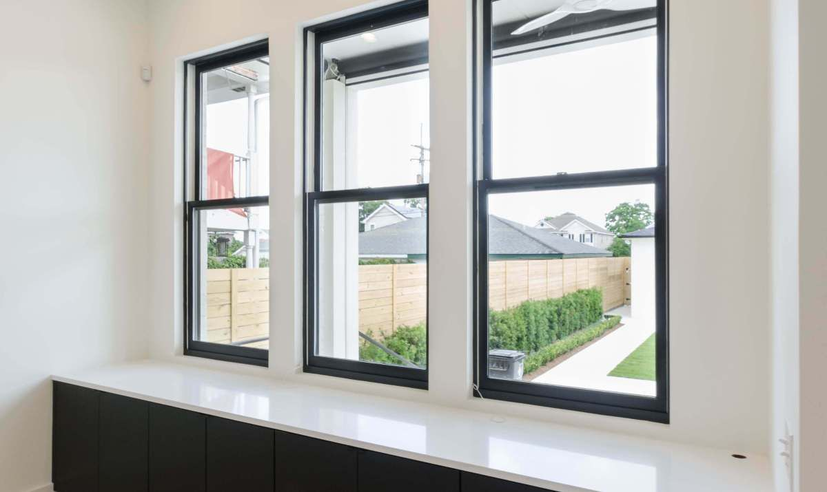 Image Result For Triple Double Hung Window Black Frame Grids Double Hung Windows Black Window Frames Double Hung