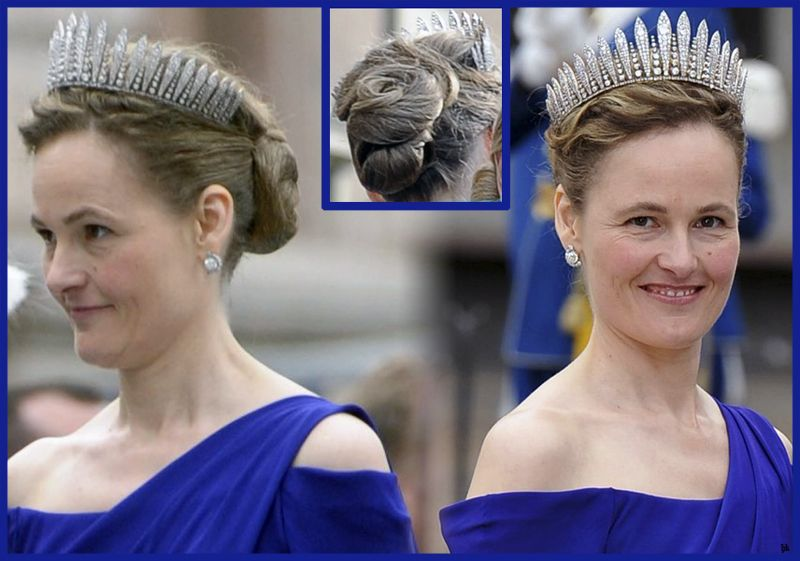 Princess Sophie of Liechtenstein, nee Bavaria, wearing the large diamond fringe tiara of her husband's family at the wedding of Crown Princess Victoria of Sweden in 2010