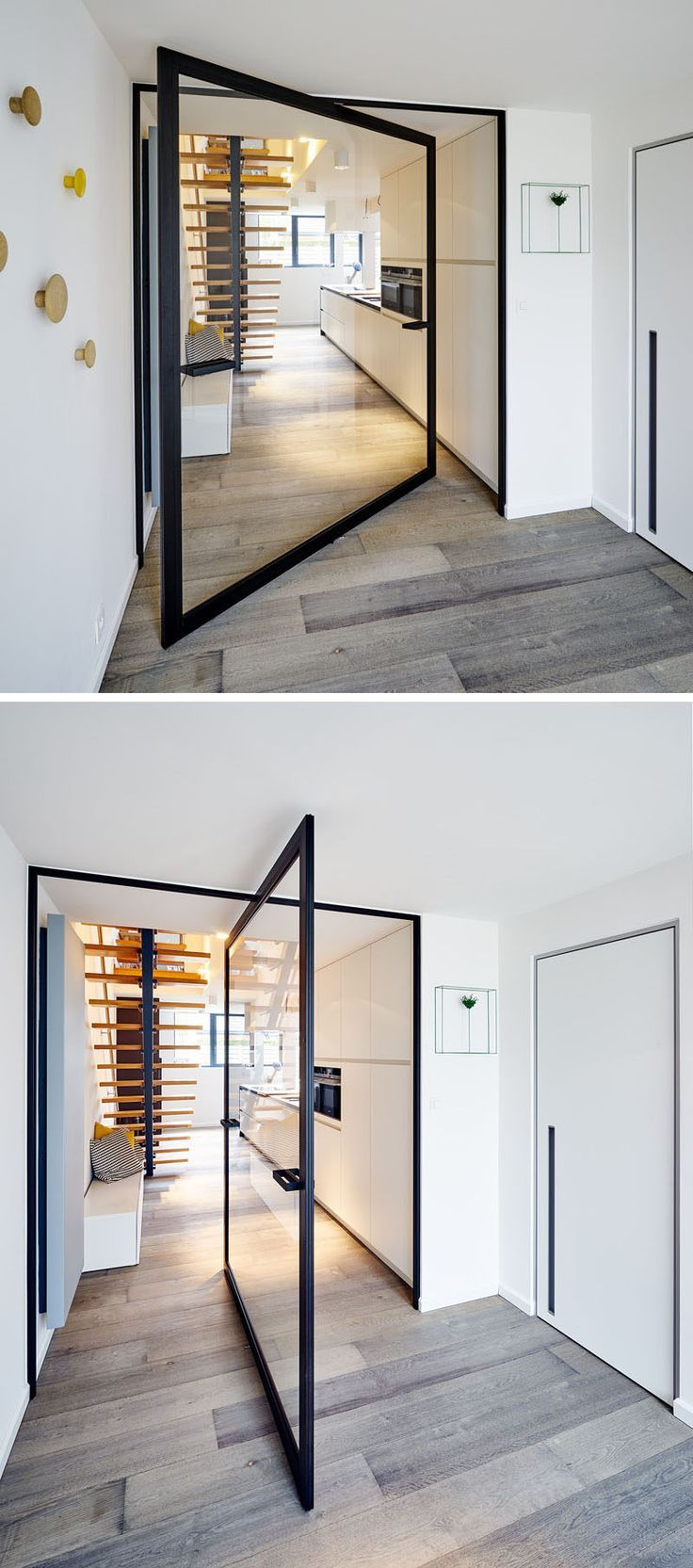 This glass pivot door has a unique central pivoting hinge that allows it to swing in & This glass pivot door has a unique central pivoting hinge that ...