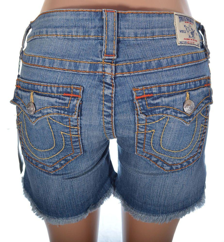 True Religion Womens Shorts Size 29 Big T Mid Cut Off Short NWT $279 #TrueReligion #Denim