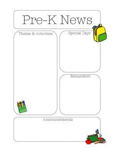 The Crafty Teacher PreK Newsletter Template  Daycare Curriculum