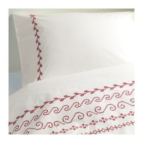 Ikea Birgit 100% Cotton Duvet Cover Set with Red and White Scandinavian Embroidery, perfect for the Holidays