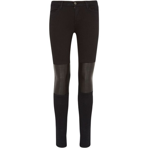 J Brand Nicola Moto Leather Patch Skinny Jeans ($585) via Polyvore