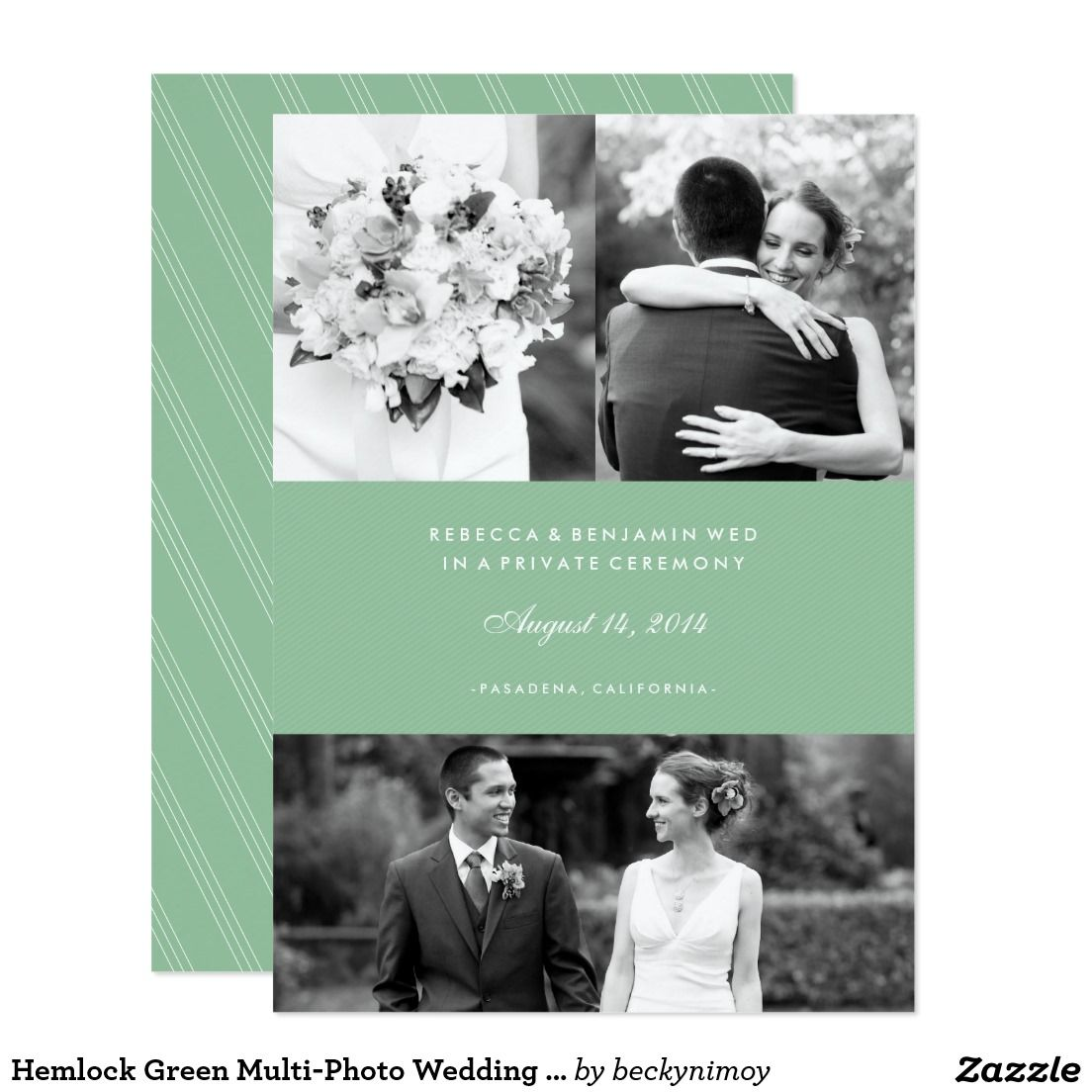 Hemlock green multi photo wedding announcement wedding hemlock green multi photo wedding announcement monicamarmolfo Image collections