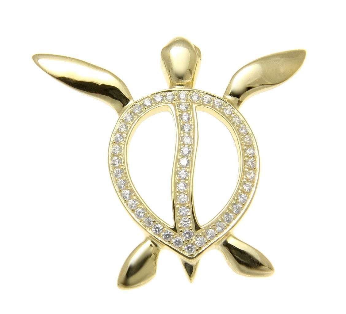 Yellow gold on solid 925 silver hawaiian swimming honu turtle slide yellow gold on solid 925 silver hawaiian swimming honu turtle slide pendant cz aloadofball Image collections