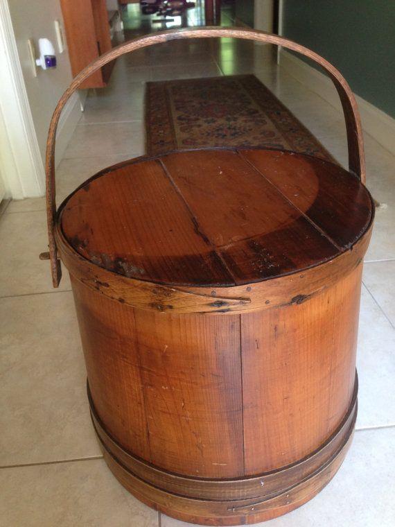 Antique Firkin Bucket Authentic E F Lane Marlboro Nh Total Size W Handle 20 H Firkin High 15 Diameter 15 Top 16 Base Ori Copper Nails Antiques Bucket