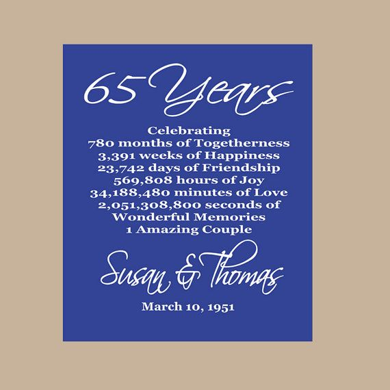 Wedding Gift Card Quotes: 65th Anniversary Print
