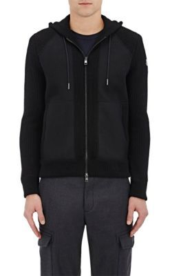 MONCLER Flannel-Front Rib-Knit Virgin Wool Sweater. #moncler #cloth #