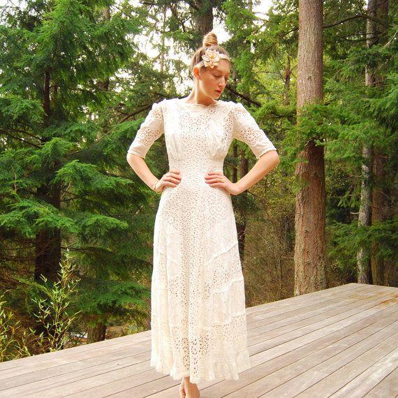 White eyelet lace wedding dress