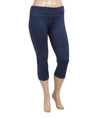 Loving this Navy Capri Leggings - Plus Too on #zulily! #zulilyfinds