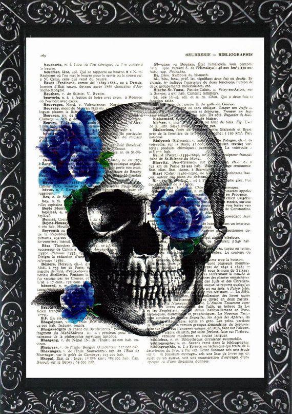 Antique skull victorian blue roses print