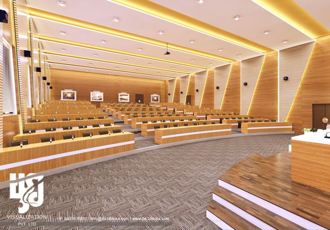 Modern Auditorium Interior Design 3drender View By Www Hs3dindia