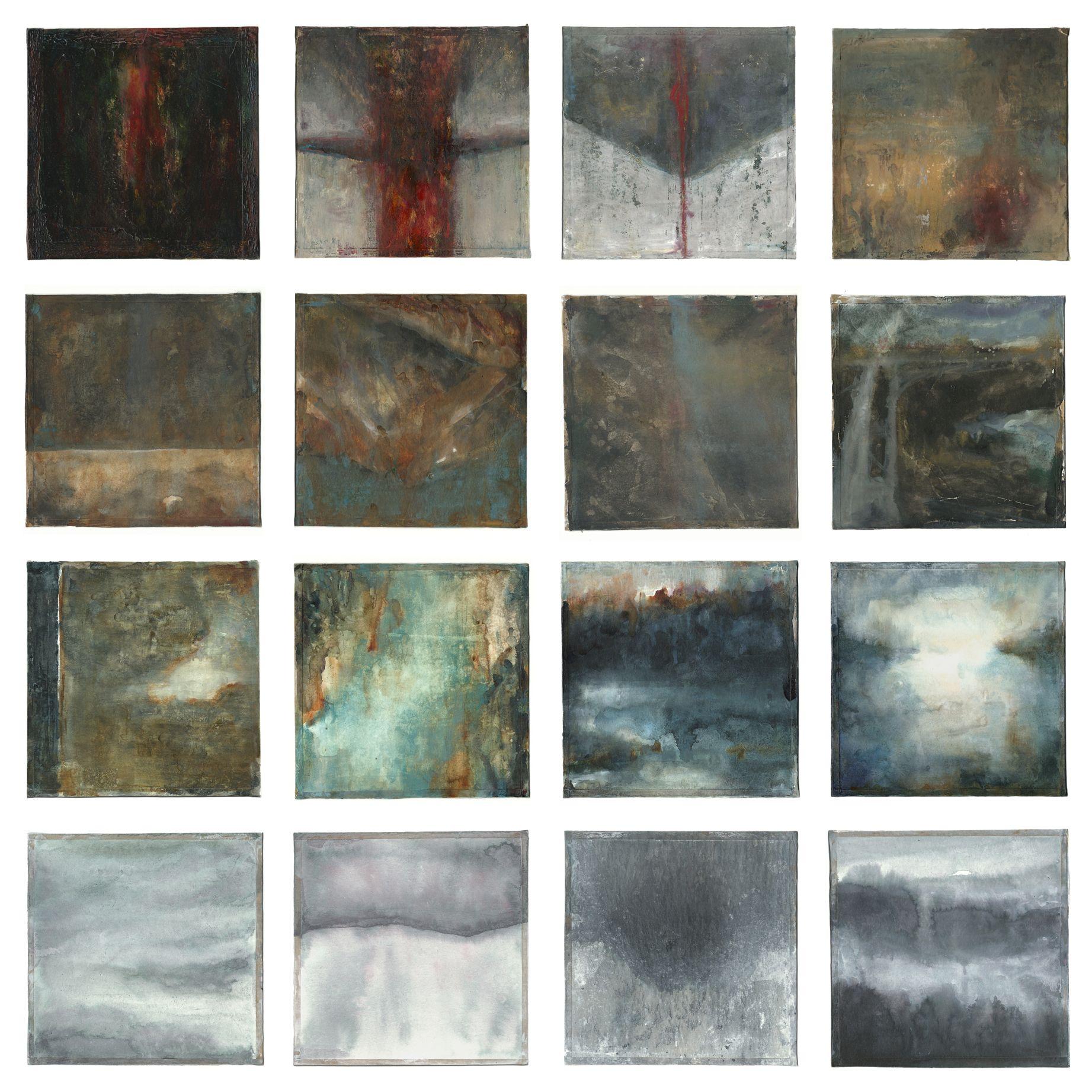 Elements - mixed media on paper, 60x60 cm by Stefano Zampieri