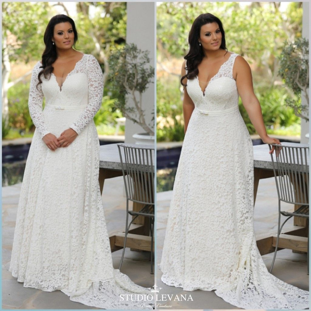 With sleeves or sleeveless this plus size lace wedding