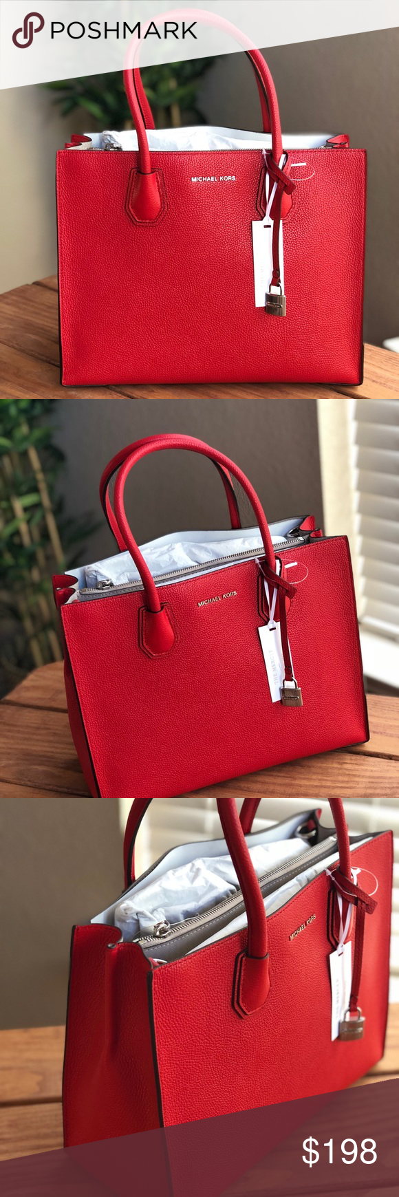 2c393cf2a390 Michael Kors Mercer Large Leather Tote Bright Red Description A Michael  Kors Mercer tote crafted in