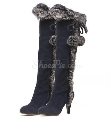 pas mal 101db e944a New Arrival Pointed Toe Nubuck Animal Feather Knee High ...