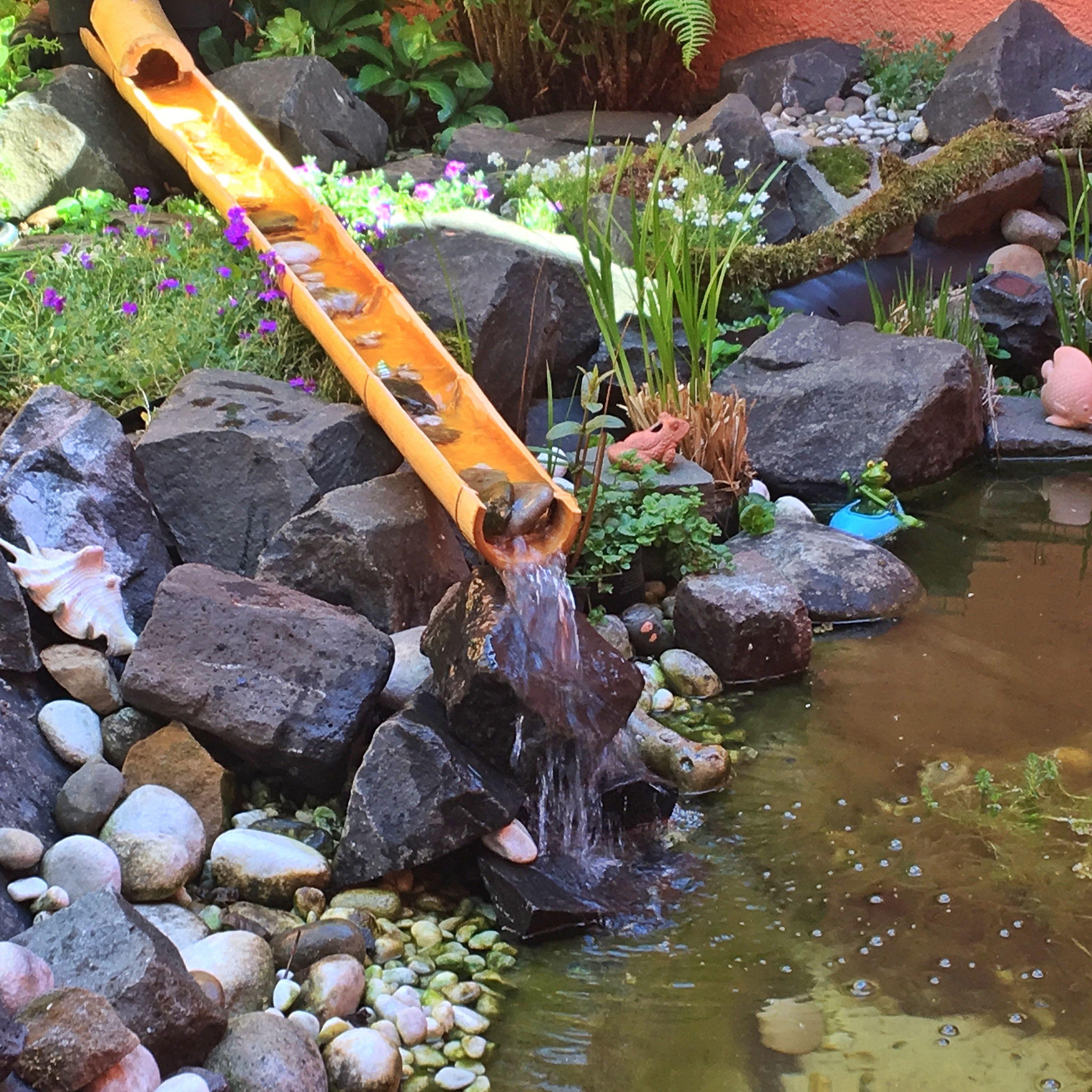 #Bambus #Wasserlauf #Wasserspiel #DIY #garten #gardening #Bachlauf #Teich