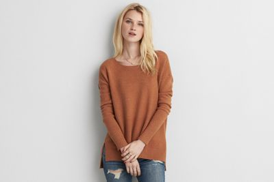 AEO Hi-Low Crew Sweater   by  American Eagle Outfitters | Warm up to cooler weather with a new collection of this season's essentials – featuring our coziest sweaters yet, in rich hues and soft textures. Shop the AEO Hi-Low Crew Sweater   and check out more at AE.com.