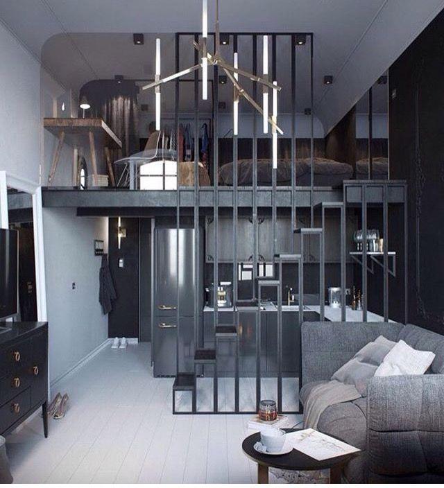 Modern studio apartment w/ mezzanine | Small apartment ...