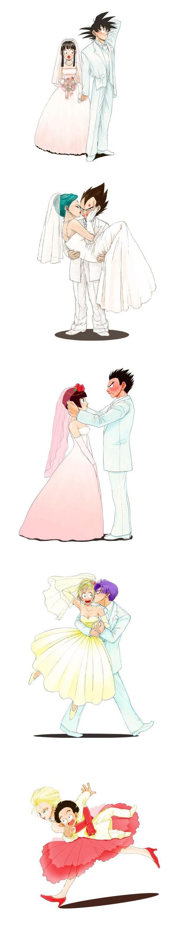 las mejores bodas para mi son vegeta y bulma y goku y milk
