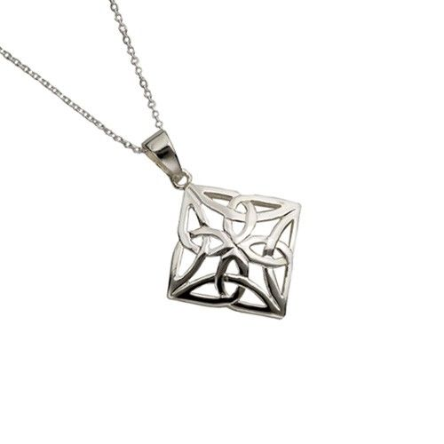 Sterling silver square celtic trinity knot pendant chain celtic sterling silver square celtic trinity knot pendant chain celtic trinity pendant find mozeypictures Images