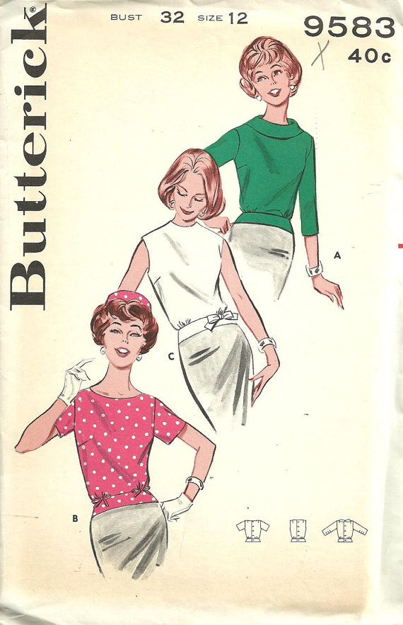 Butterick 9583 // Vintage 60s Sewing Pattern // Blouse Shirt // Size ...