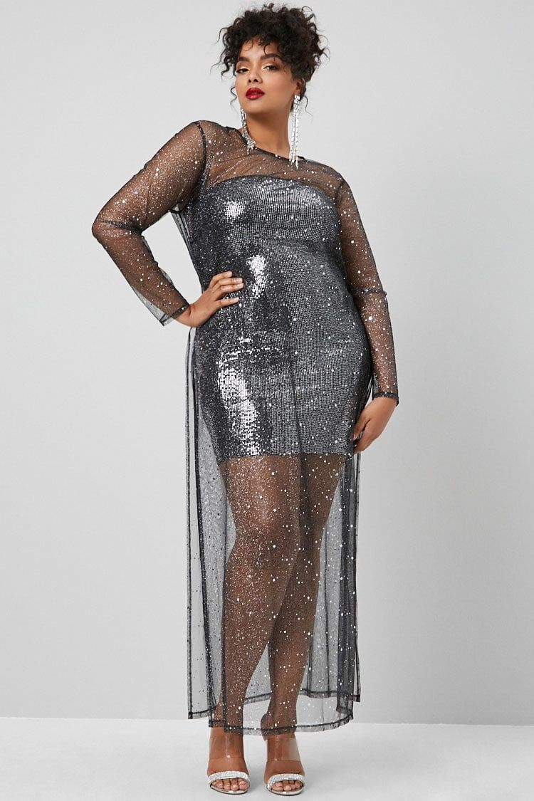 1e88573d83 Product Name:Plus Size Sheer Glitter Star Print Dress,  Category:CLEARANCE_ZERO, Price:22.9