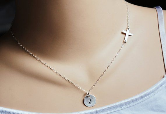 Photo of Sideways Cross Initial Necklace Personalized Sterling Silver Everyday Dainty Jewelry Cross Necklace Gift for HerMothers Day