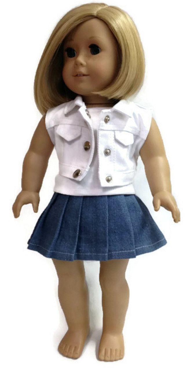 Denim Vest, Skirt, & White Tank Top #americandolls
