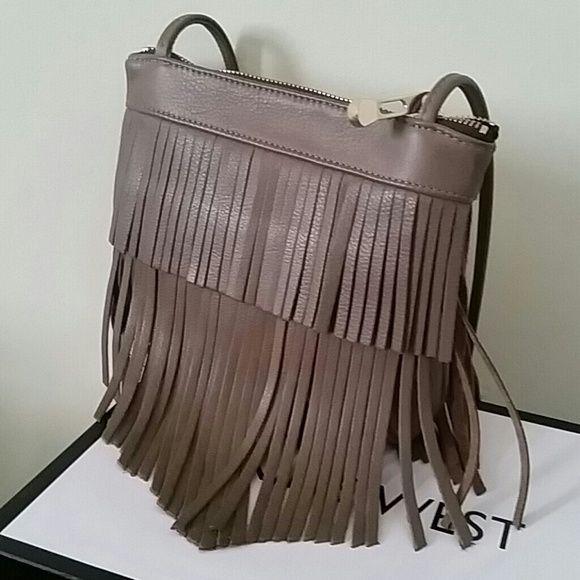 Grey Leather Fringe Handbag Rarely worn, but stunning bag, excellent cobdition. Bags