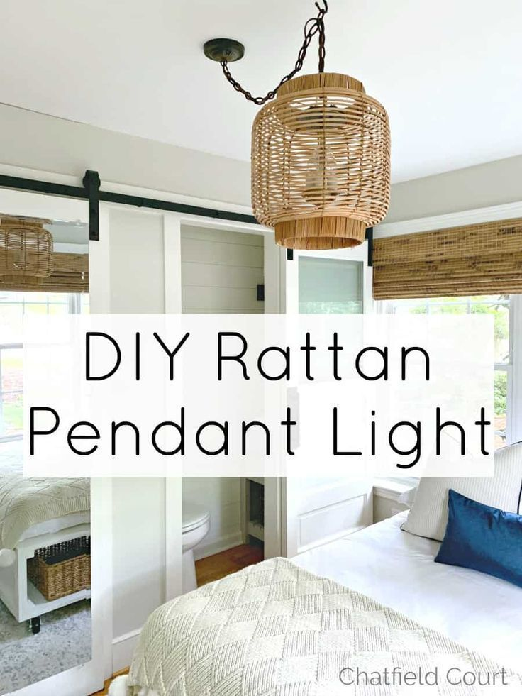 How to make a rattan DIY hanging lamp with thrifty finds for a guest bedroom. #diy #hanginglampdiy #hanginglight #hangingpendantlight #pendant light #pendantlightdiy