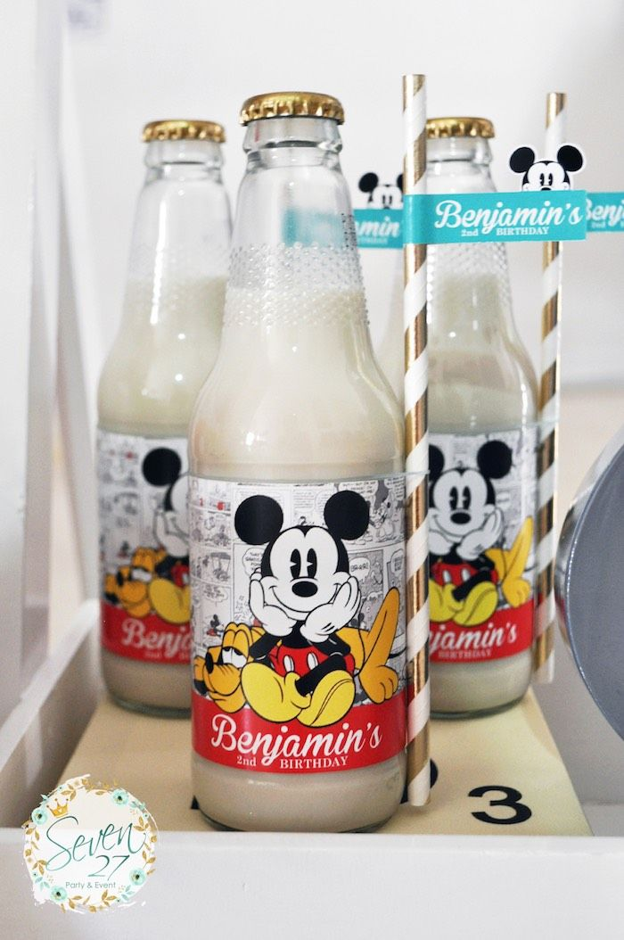 Soda bottles with milk from Vintage Mickey Mouse Themed Birthday Party at Kara's…