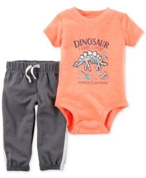 e1263ac743f5 Carter s 2-Pc. Dinosaur Fossil Expert Bodysuit   Pants Set - Orange ...