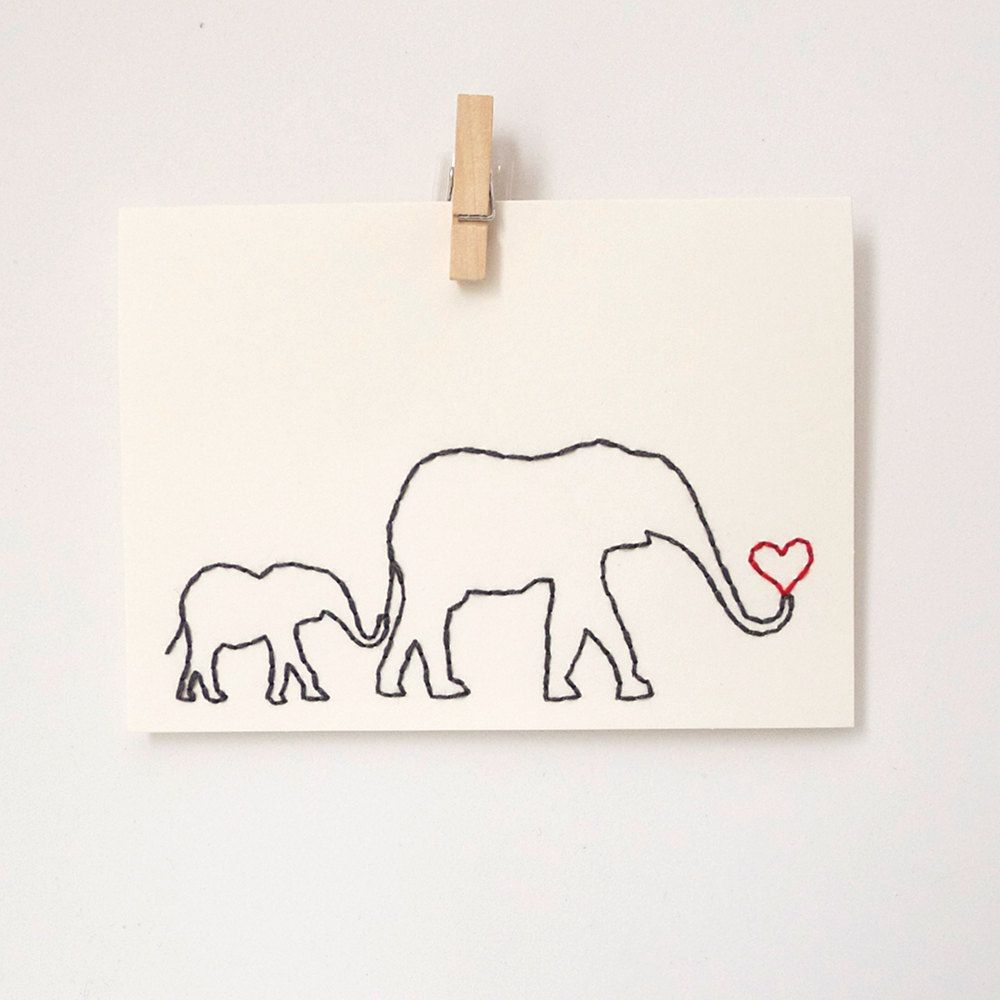 Embroidered Card / Elephant And Baby / Mom's Birthday