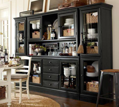 I Love Black Cabinets And Shelves Nice With The White Table And Captivating Dining Room Cupboard Design Decoration