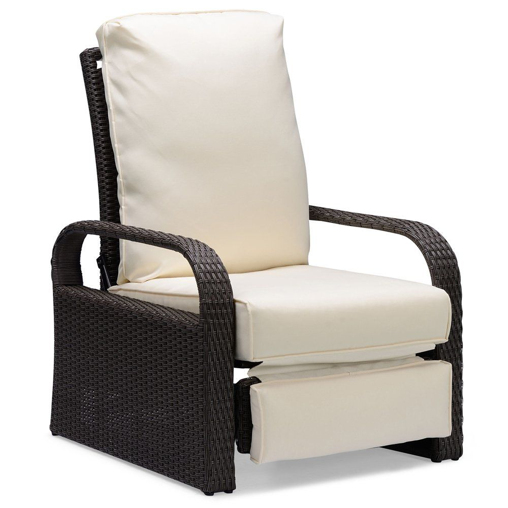Art To Real Brown Outdoor Wicker Recliner Aluminum Frame Adjustable Woven Lounge Chair With Thicken Cushio Outdoor Wicker Outdoor Recliner Lounge Chair Outdoor