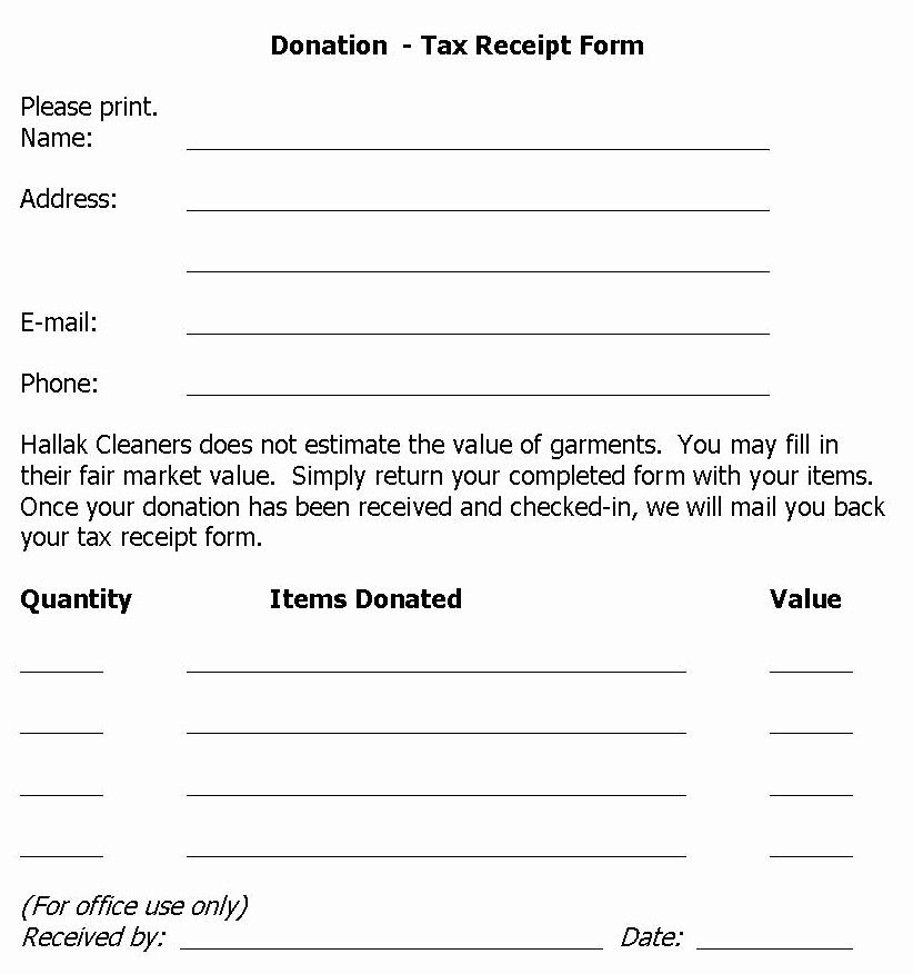 Donation form for tax purposes awesome hallak cleaners