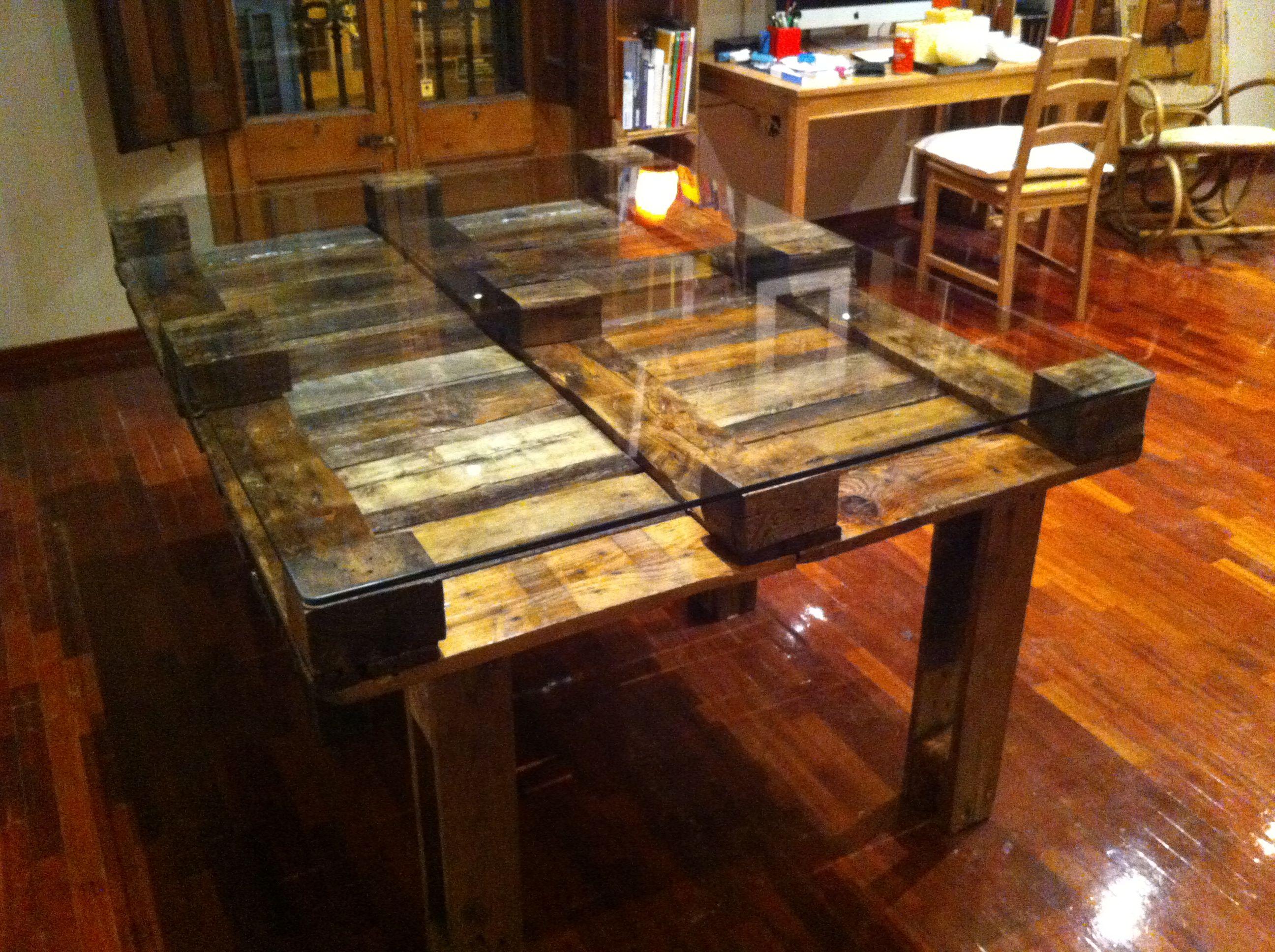 Mesa de comedor con palets reciclados 120x160 decoraciones con paleta pallet dining table - Mesas de pale ...